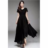 Hermoso Vestido De Gasa Tejido Raso Color Negro