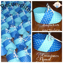 Recuerditos Para Varón. Zapatitos En Cartulina. Baby Shower