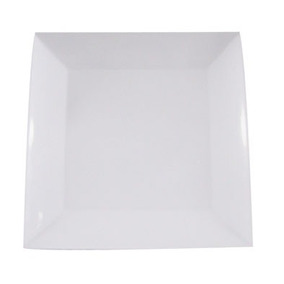 Prato Quadrado Branco Melamina Especial 20 Cm - Kit C/20