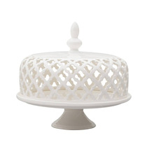 Prato Para Bolo Vazado Branco Em Porcelana S/juros S/frete