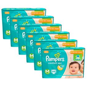 6 Pacotes De Fralda Pampers Confort Sec M - 264 Unidades