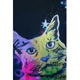 Pintura Decorativa Gato Obra Artística Pop Art