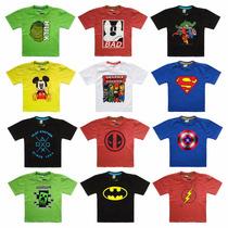 Kit 30 Camisas Blusas Infantil Super Heroes Manga E Regata