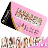 Adesivo De Unha (ref:06) Pelicula Zebra Animal Print Laranja
