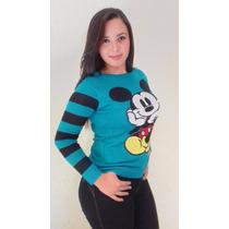 Blusa De Tricô Tricot Cardigãs Minnie Mickey Mouse