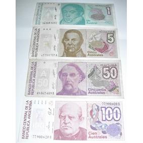 Argentina:lote 4 Billetes 1/5/50/100 Australes Sin Circular