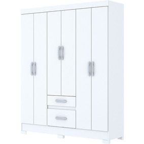 Guarda-roupa Casal Briz B22 6 Portas 2 Gavetas Branco/branco