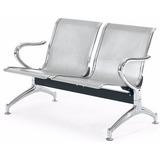 Cadeira Longarina Sala De Espera Metálica Cromada 2 Lugares