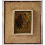Pintura Al Oleo Vintage En Madera ( Pelea De Gallos)