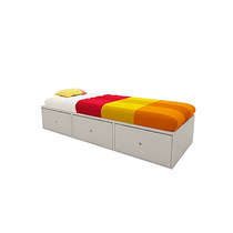 Base Sommier Box Cama 1 Plaza 3 Cajones Blanco