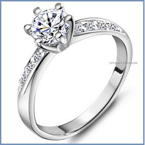 G C+ Anillo De Compromiso Diamante Natural .15ct Oro 14k 017