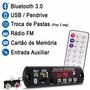 Placa Mp3 Player Usb Sd Bt Radio Fm Aux Rca P Caixa Multiuso