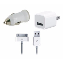 Kit 3 En 1 Ipod Iphone 3 Y 4 Cargador Casa + Carro + Cable