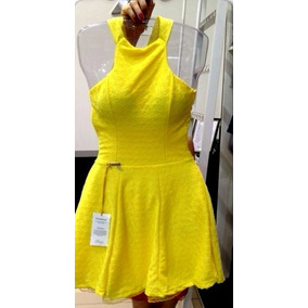 Vestido Decote Costa Amarelo Tam M