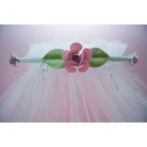 Dossel Parede C/ Véu Mosqueteiro Micro Tul Bebê Rosa Cristal