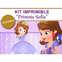 Kit Imprimible Princesita Sofia, Decoraciones Cajitas Fiesta