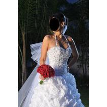 Vestido Largo De Novia O 15 Años - Impecable C/velo Y Tiara