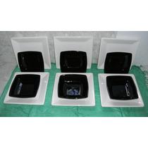 Platos Cuadrados Blancos X 6 + Cuadrados Hondos Negros X 6