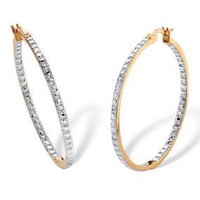 Diamond Accent Inside-out 18k Chapado En Oro-pendientes