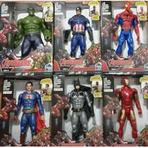 Bonecos Avengers Hulk Batman S.man H.aranha H. Ferro 30cm