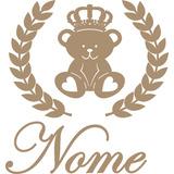 Painel De Parede Urso Principe Com Ramos E Nome Mdf Cru