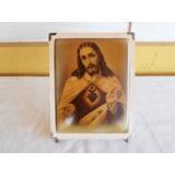 Antigo Quadro Sagrado Coração De Jesus Cristo Na Madeira