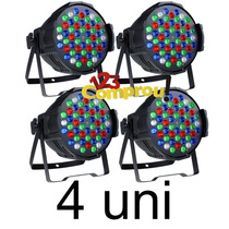 Kit 4 Canhão Refletor Par 64 Super Led 54 Leds 3w Rgbw Dmx