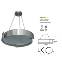 Candil Cuerpo En Aluminio Pantalla Vidrio Esmerilado Plata
