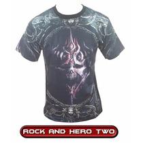 Camiseta Camisa 3d Rock Caveira Motoqueiro Ciclismo Moto