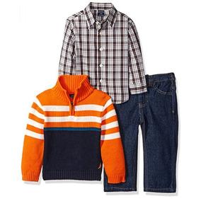Conjunto 3 Piezas Bebé Nautica Camisa Sueter Niño Jeans 24m