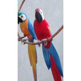 Dupla De Araras(canindé X Vermelha)pássaros De Madeira