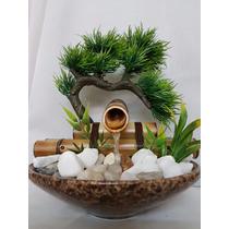 Fonte Água Bambu Cerâmica Pedra 1 Queda Bonsai Articicial