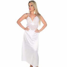 Camisola Longa Branca Super Luxo Palinha + Calcinha