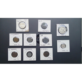 **set De 10 Monedas Del Periodo 2ww. Nazi, Eu, Italia.