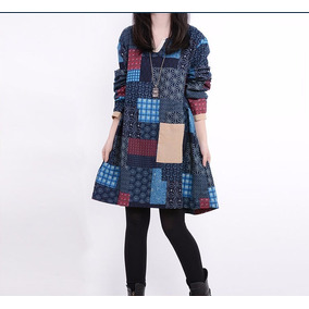 Vestido Elegante Invierno Otoño Moda Japonesa Asiatica