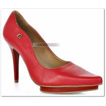Sapato Scarpin Carmen Steffens Couro Vermelho Meia Pata N 37