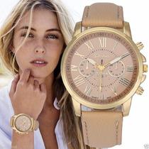 Relógio Genebra De Pulso Feminino - Quartz De Aço Inoxidável