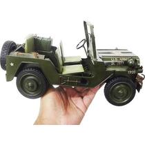 Miniatura Jeep Metal Vintage Retro Exercito Americano 28cm