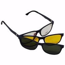 Armação P/ Óculos De Grau C/ Aste Mola Tr90 Clipon De Sol