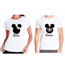 Kit 2 Camisetas De Casal Bride E Groom Mickey E Minnie Mouse
