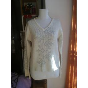 Sweater Lana Escote V Natural - Talle M Liquidación Invierno