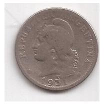 Argentina Moneda De 20 Centavos De Niquel Año 1931 Escasa