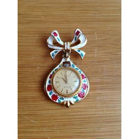 Antiguo Reloj Prendedor Para Dama Marca Rivo
