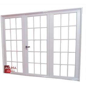 Porton Aluminio Blanco Vidrio Repartido 2.40 X 2