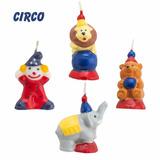 Kit 4 Velas Tema Circo Aniversário Filhos Decoração Festa