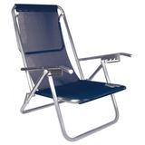 Cadeira De Praia Reclinável 5 Posições Alumínio Azul Mor