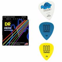 Corda Dr Neon Colorida Guitarra E Mix De Palhetas Dunlop