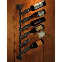 Cava Vertical Porta 6 Botellas De Vino Estilo Industrial