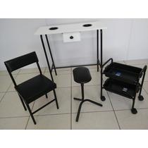 Kit Manicure Pedicure Preto Mesa, Carrinho,suporte+cadeira P