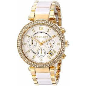Reloj Michael Kors Dama Modelo Mk6119 Dorado Blanco